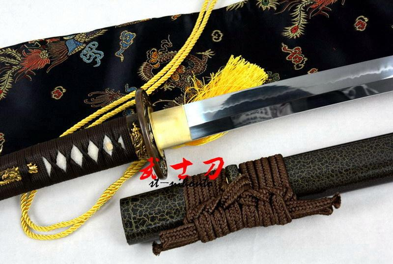 Clay Tempered T-10 Steel Blade Japanese Samurai Katana Zodica 12 Tsuba Sword