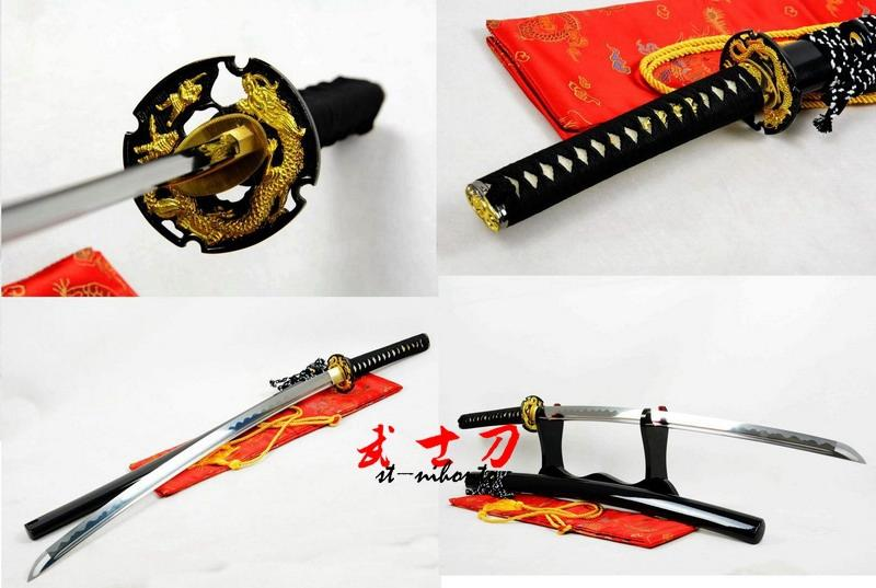 Handmade Japanese Battle Ready 9260 Spring Steel Black Katana Dragon Tsuba Full Tang Balde