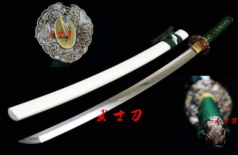 Handmade Japanese Samurai Katana Clay Tempered Sanmai Blade Full Tang Sword Real Yokoto