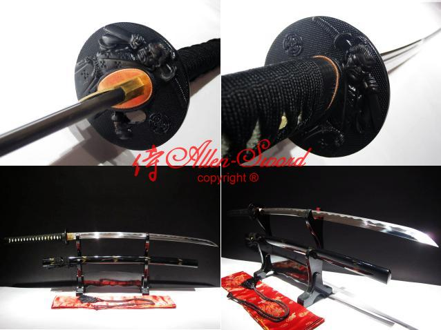 Handmade Spring Steel Japanese Black Warrior Tsuba Katana Battle Ready Sword