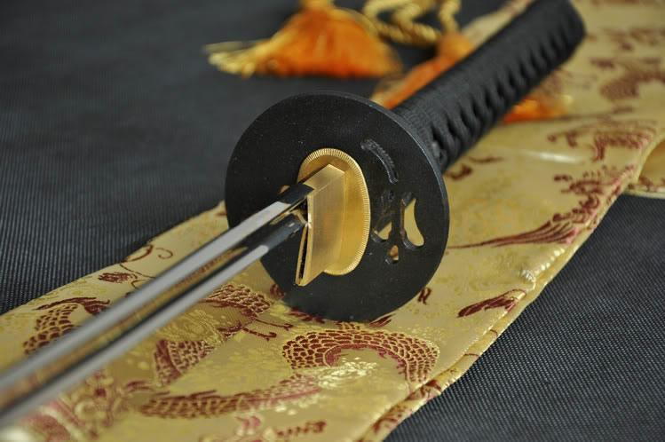 1095 Steel Full Tang Blade Leaf Fan Iron Tsuba Japanese Samurai Sword Katana