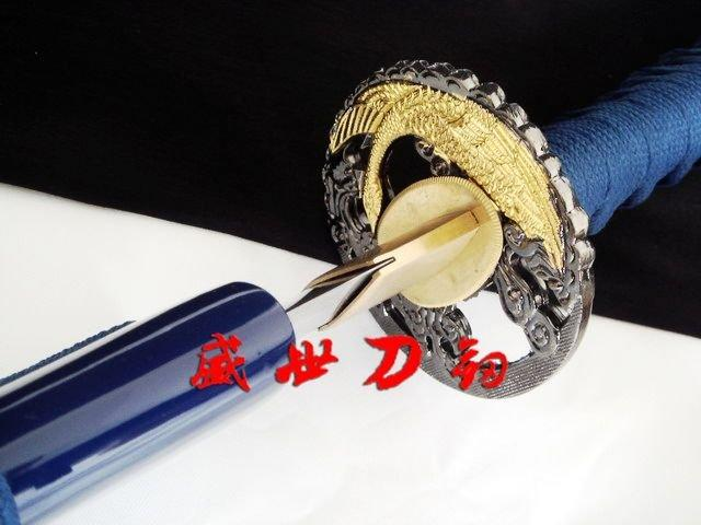 Handmade Japanese Golden Swan Tsuba Katana Sword Sharpened Blade Can Cut Bamboo