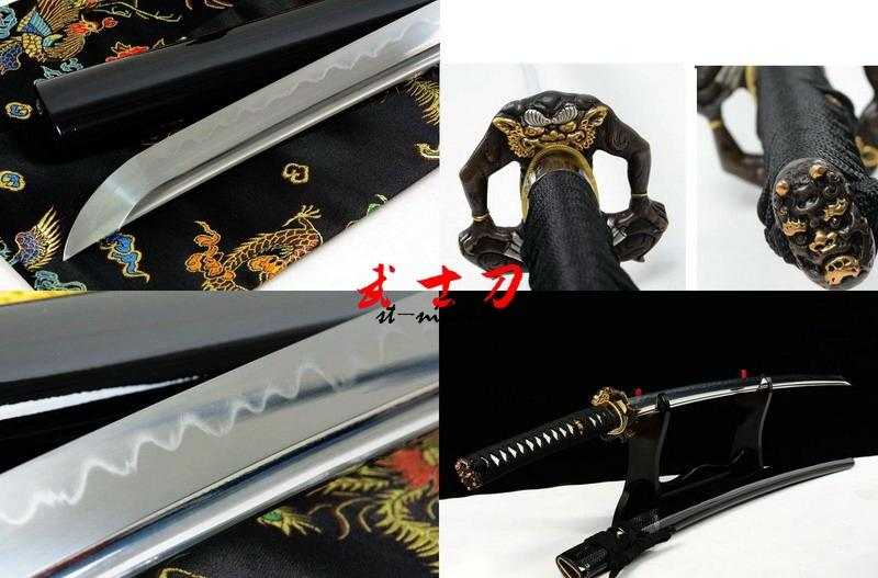 Battle Ready Clay Temnpered T-10 Steel Blade Katana Demon Tsuba Full Tang Sword Shark Skin Saya
