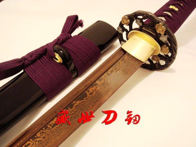 Battle Ready Japanese Samurai Katana Folded Steel Blade Folower Tsuba Shaprened