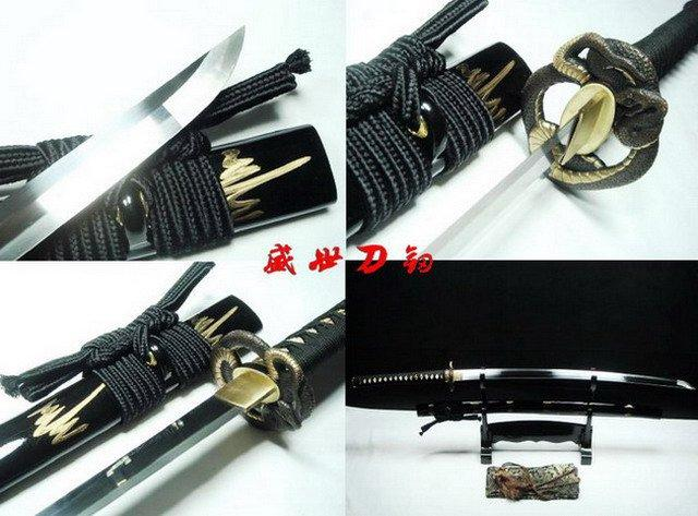 Battle Ready Japanese Samurai Katana Snake Tsuba 9260 Spring Steel Sharpened
