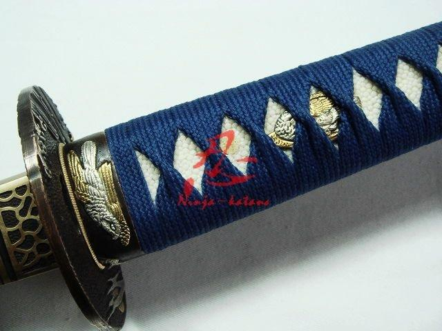 Battle Ready Japanese White Katana Eagle Tsuba Clay Tempered Sanmai Blade Sharpen Work Blade