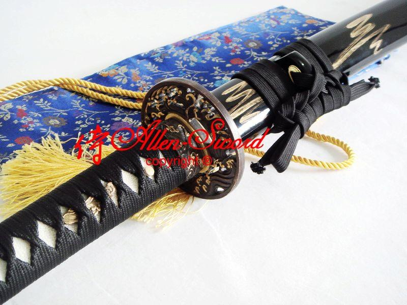 Battle Ready Quenched Spring Steel Japanese Katana Wave Tsuba Functional Sword