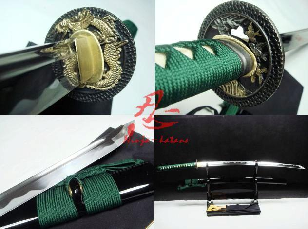 Hand Forged Japanese Samurai Katana Golden Dragon Tsuba Sharpened Blade