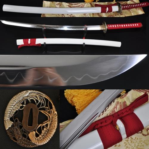 High Quality Japanese Samurai Sword Katana Clay Tempered Unokubi-Zukuri Blade