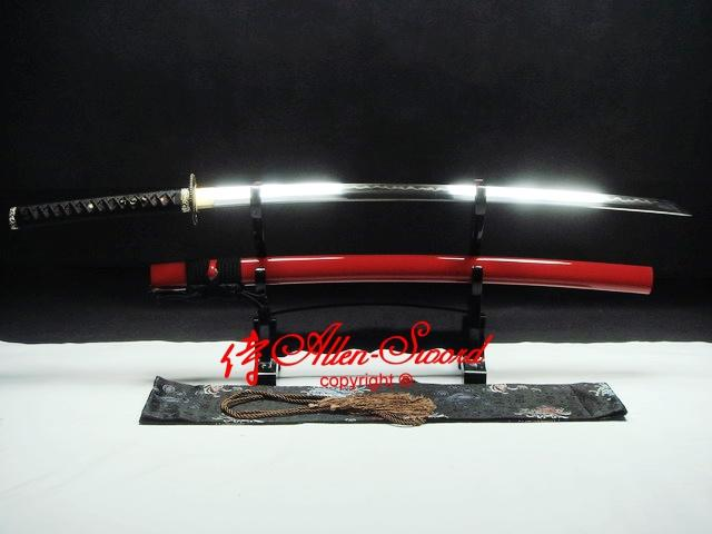 Battle Ready Clay Tempered Red Japanese Dragon Tsuba Katana Sharpened Edge Sword