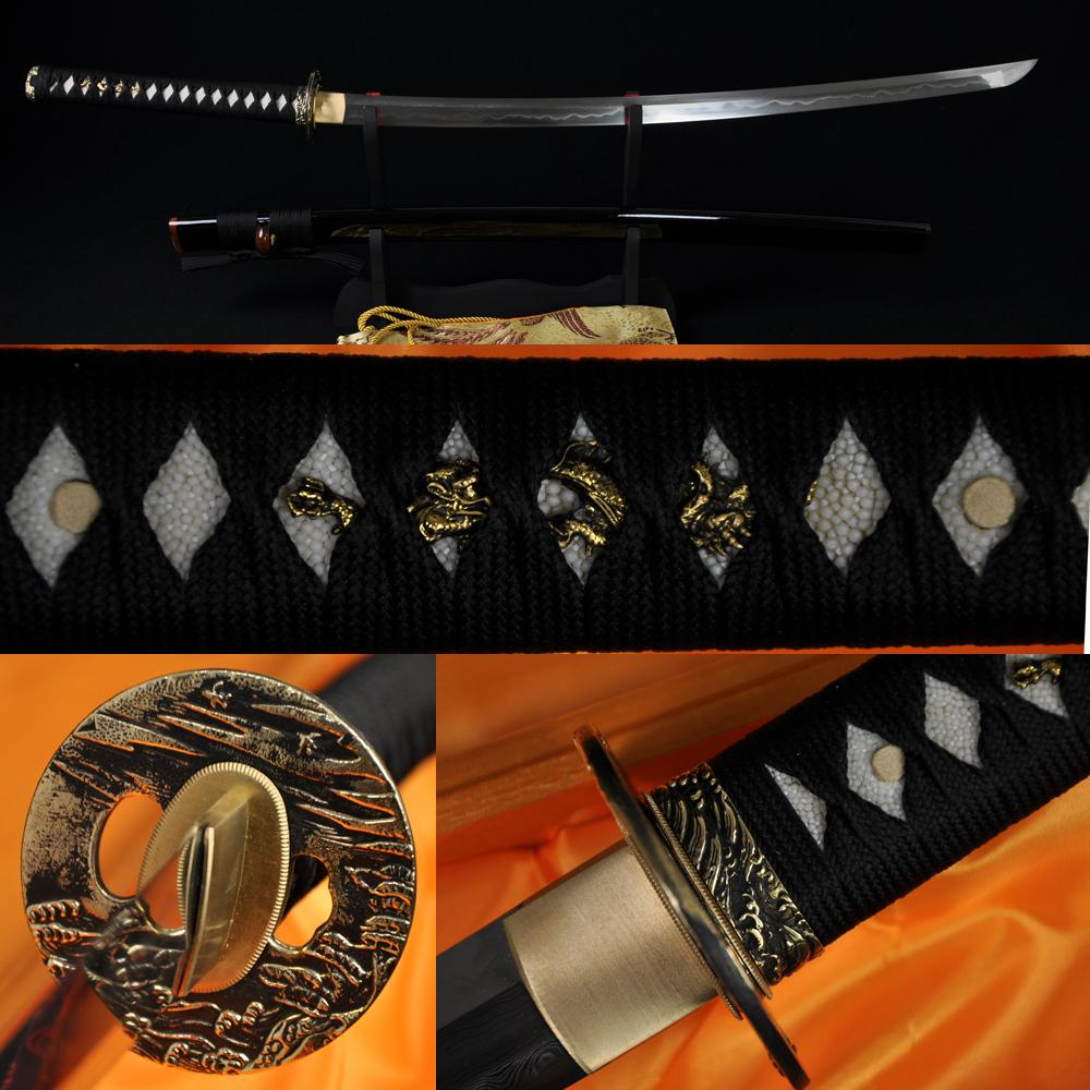 Clay Tempered Folded Steel Blade Japanese Samurai Katana Functional Sword Sharp