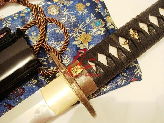 Claytempered Shobu Zukuri Kissaki Katana Demon Tsuba Sword Flamy Hamon Sharpened