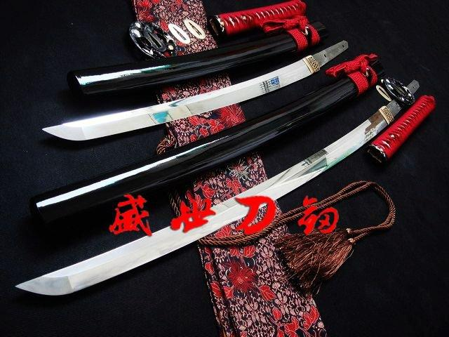 Hand Forge Forged Japanese Twins Katana Clay Tempered Sanmai Blade Battle Ready Swords