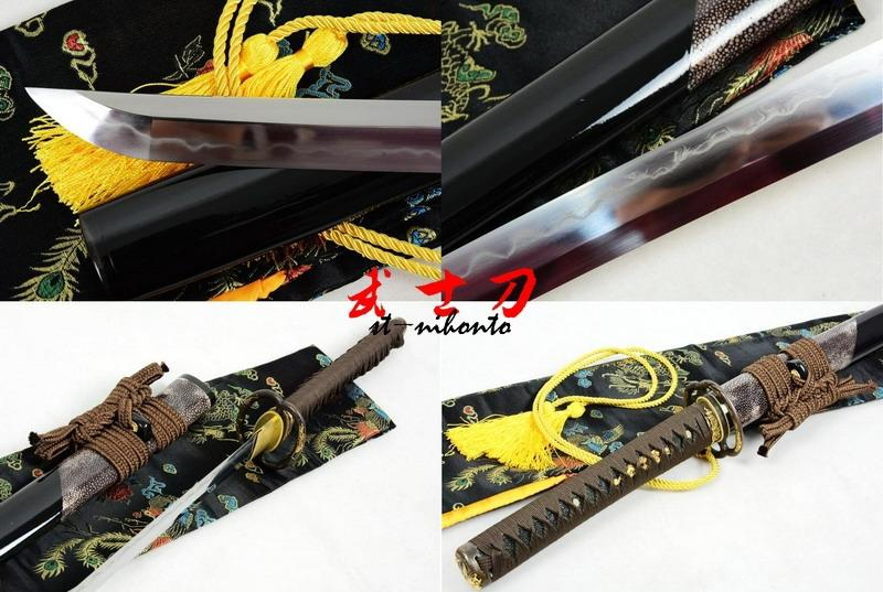 Hand Forged Clay Tempered Kobuse Blade Japanese Musashi Katana Sword Shark Skin Saya