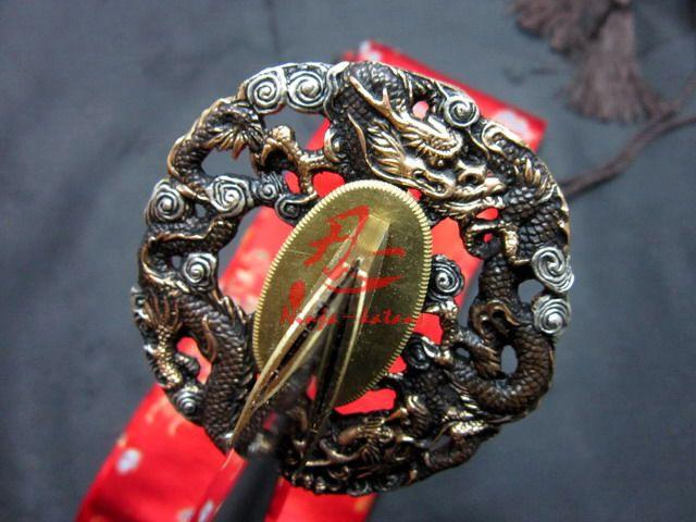 Hand Forged Spring Steel Japanese Red Katana Dragon Tsuba Shaprened Sword