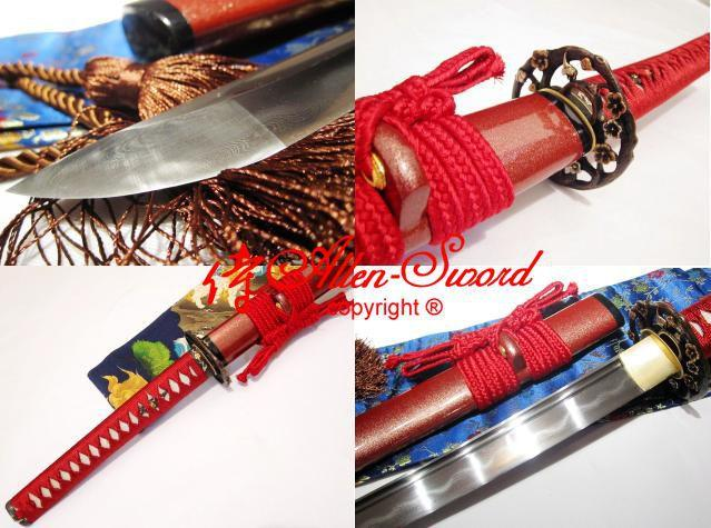 Handmade Japaense Red Katana Clay Tempered Foled Steel Blade Sharpened Full Tang