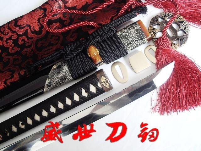 Battle Ready Japanese Katana Sword Clay Tempered Folded Steel Blade Fans Tsuba Sharpened