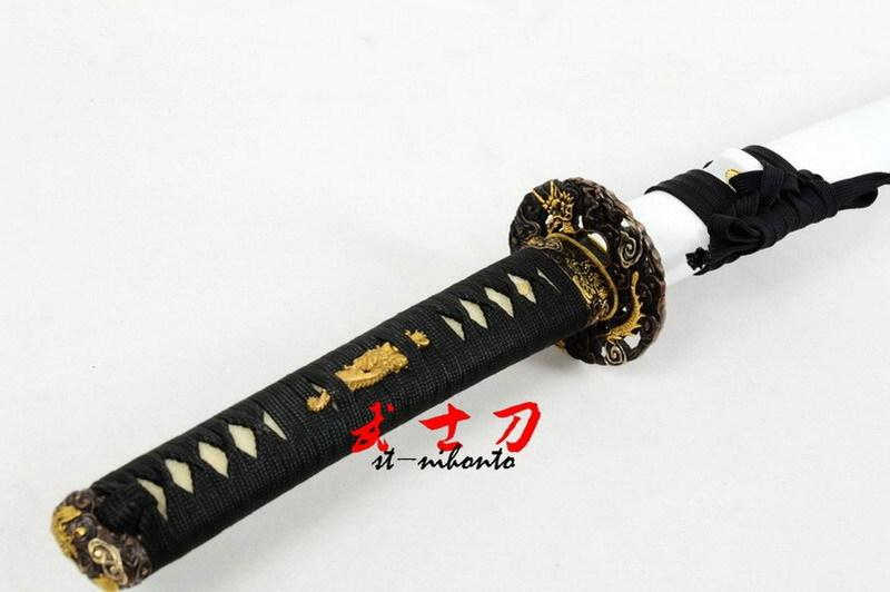 Battle Ready Quenched Oil 9260 Spring Steel Blade Japanese Katana Copper Dragon Tsuba Sword Full Tang