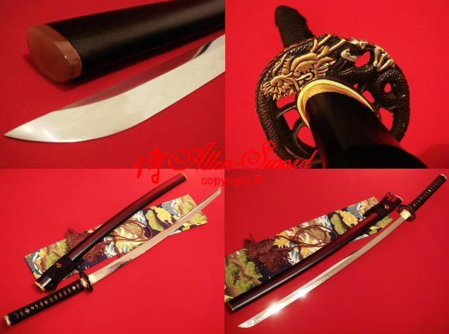 Clay Tempered Folded Steel Japanese Dragon Katana Battle Ready Sword Full Tang86