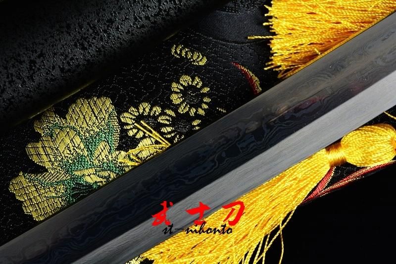Hand Forged Folded Steel Full Tang Blade Japanese Black Samurai Katana Plum Blossom Tsuba Sword