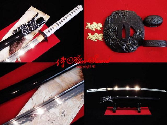 Battle Ready Clay Tempered 1095 Steel Japanese Katana Tiger Tsuba Full Tang Blade