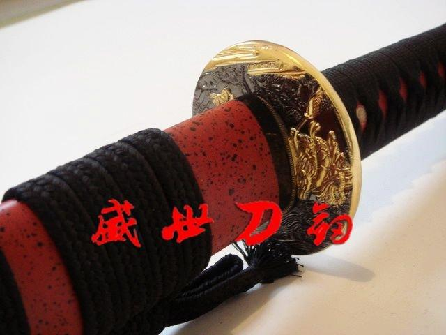 Battle Ready Japanese Samurai Katana Golden Tsuba Sharpened 1075carbon Steel Sword