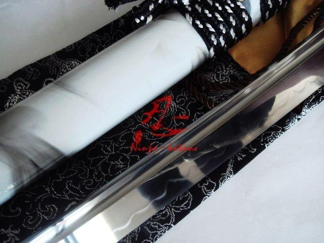 Clay Tempered Samurai Katana Silver Wave Tsuba Battle Reday Blade Razor Sharp