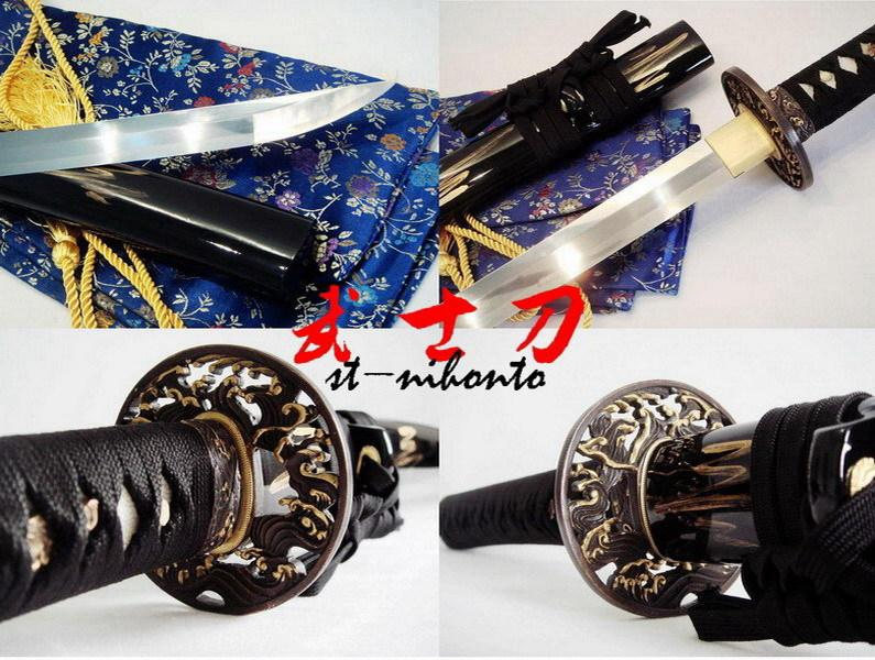Battle Ready Quenched Spring Steel Japanese Samurai Katana Wave Tsuba Functional Sword