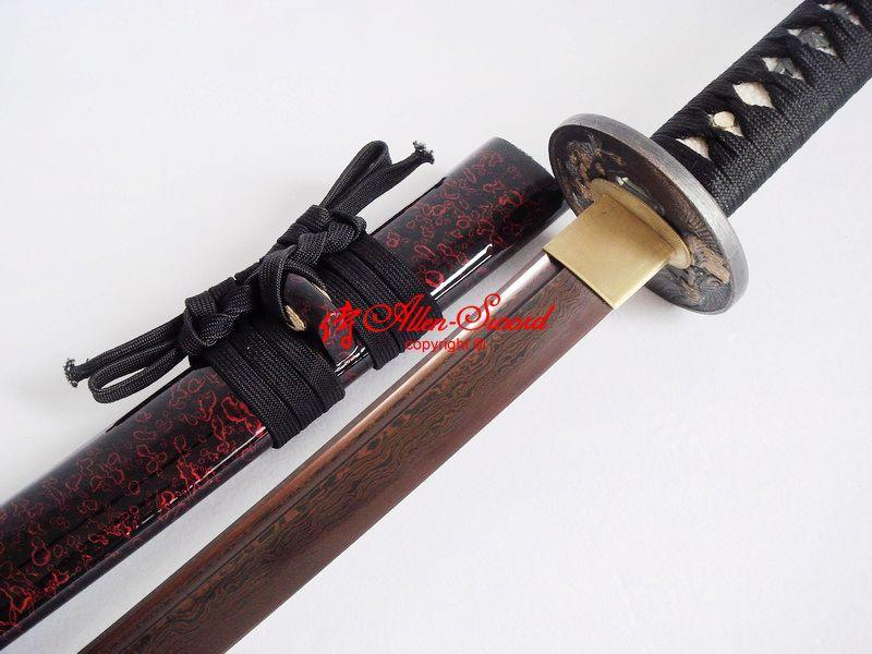 Black Red Foled Steel Blade Japanese Full Tang Katana Sword Phenix Tsuba