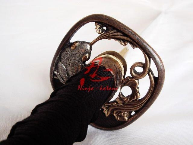Clay Tempered Folded Steel Battle Ready Japanese Samurai Katana Toad Tsuba Sword