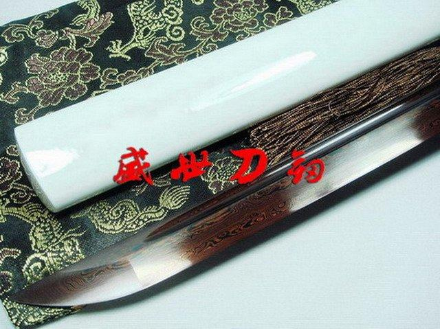 Hand Forged Forged Japanese White Katana Sword Cross Tsuba Red/Black Folded Steel Blade