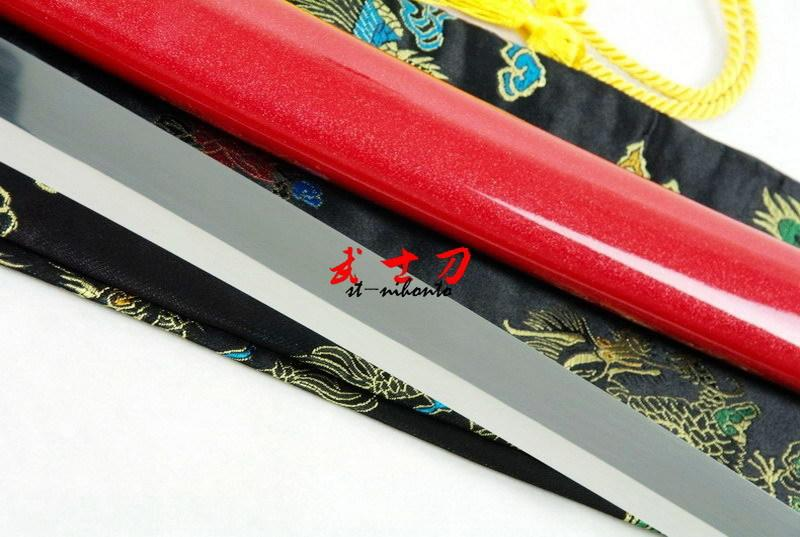 Handmade Japanese Battle Ready 9260 Spring Steel Red Katana Iron Tsuba Full Tang Balde