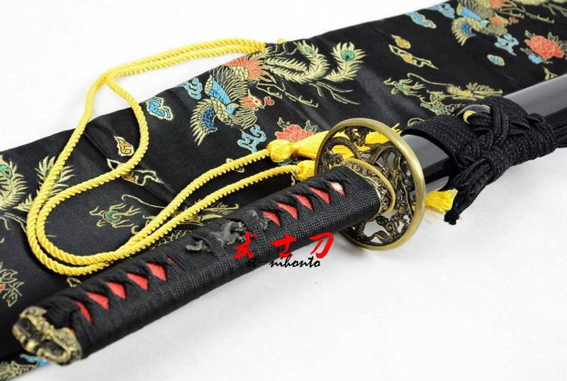 Handmade Japanese Battle Ready T-15 Steel Functional Katana Dragon Tsuba Full Tang Balde Sword