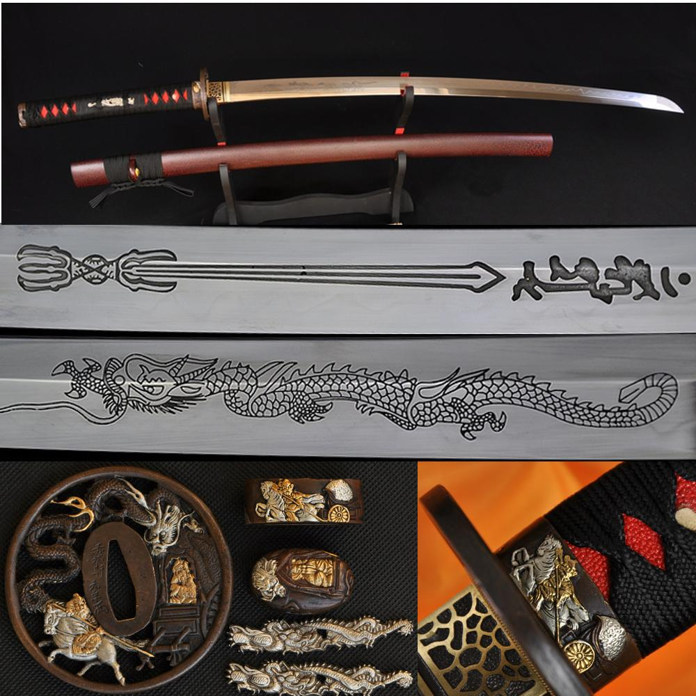 High Quality Japanese Samurai Katana Dragon Sword Clay Tempered Engraved Blade