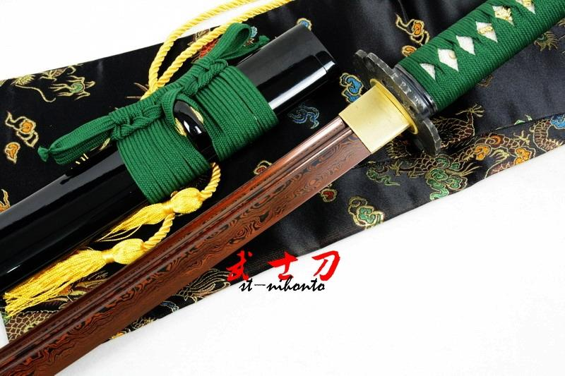 Battle Ready Black Japanese Naginata Katana Adsorb Titanium Foled Steel Sword Full Tang Blade
