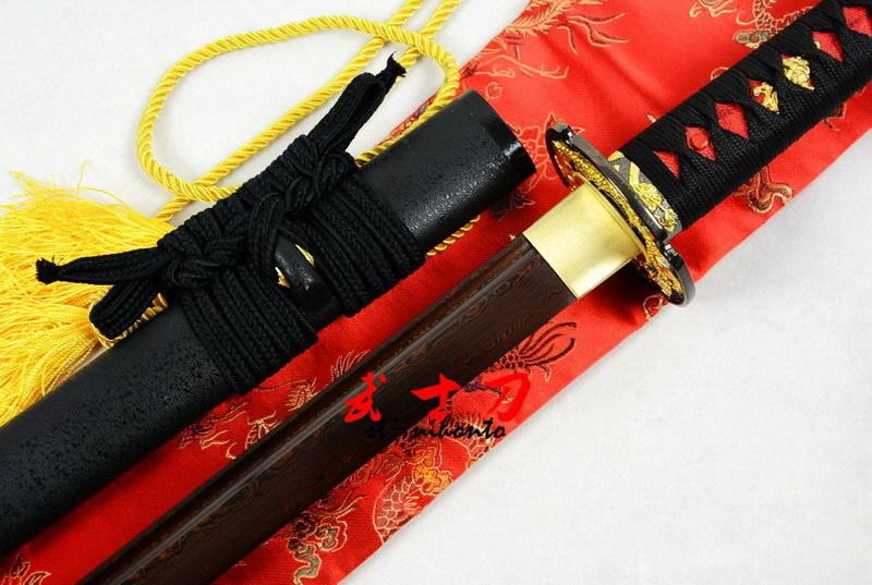 Handforged Black Red Folded Steel Japanese Dragon Tsuba Ninja Sword Full Tang Blade