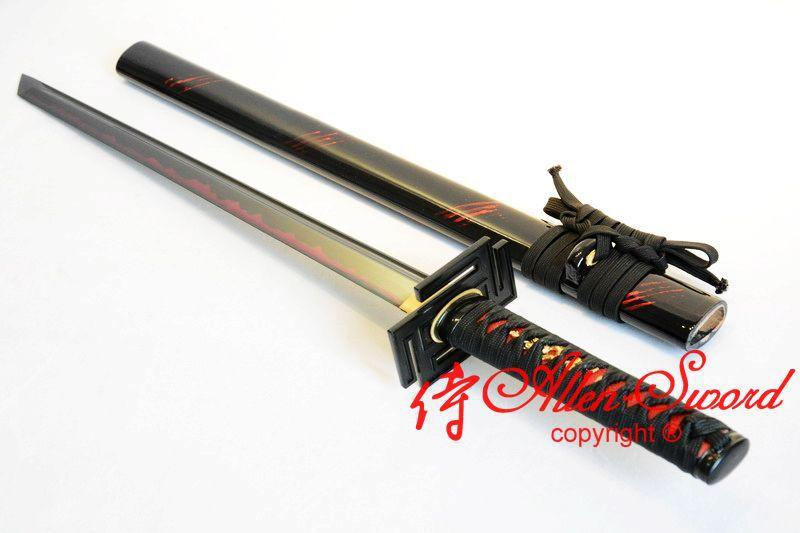 29.9 Inch Battle Ready Clay Tempered T10 Steel Black Ninja Sword Tungsten Adsorb Blade