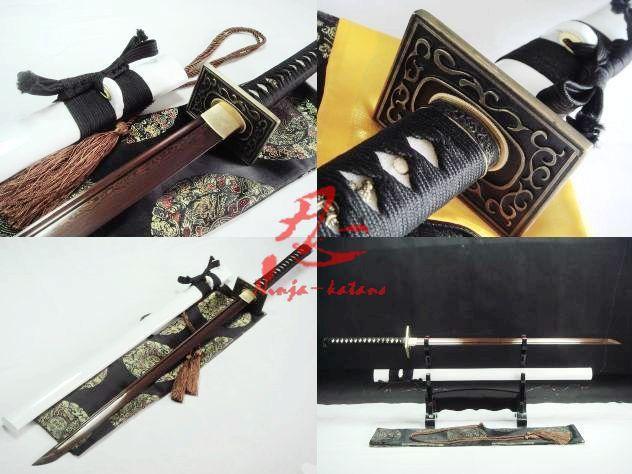 Hand Forged White Japanese Ninja Katana Sword Folded Steel Blade Sharpened Sword
