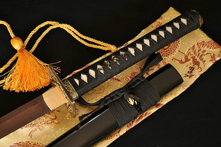 Japanese Samurai Ninja Sword Black Red Folded Steel Blade Wave Brass Tsuba