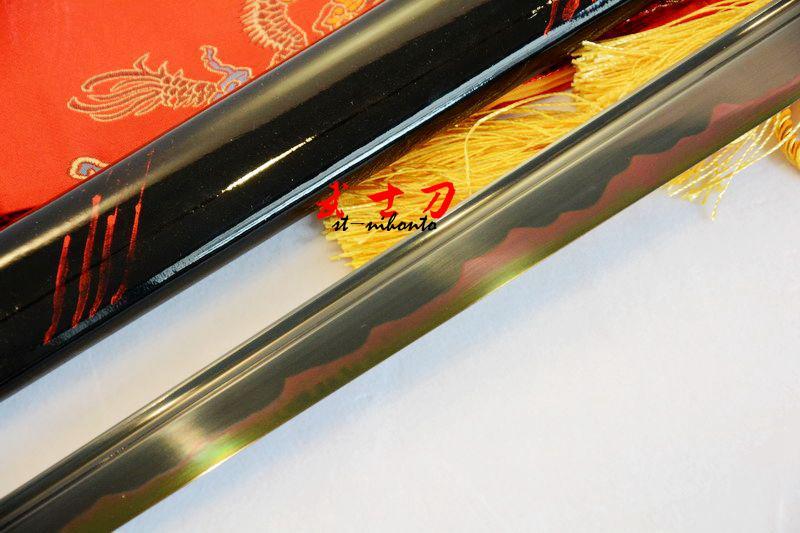 Handmade Black Japanese Ninja Katana Tungsten Adsorb Blade Sword Razor Sharp