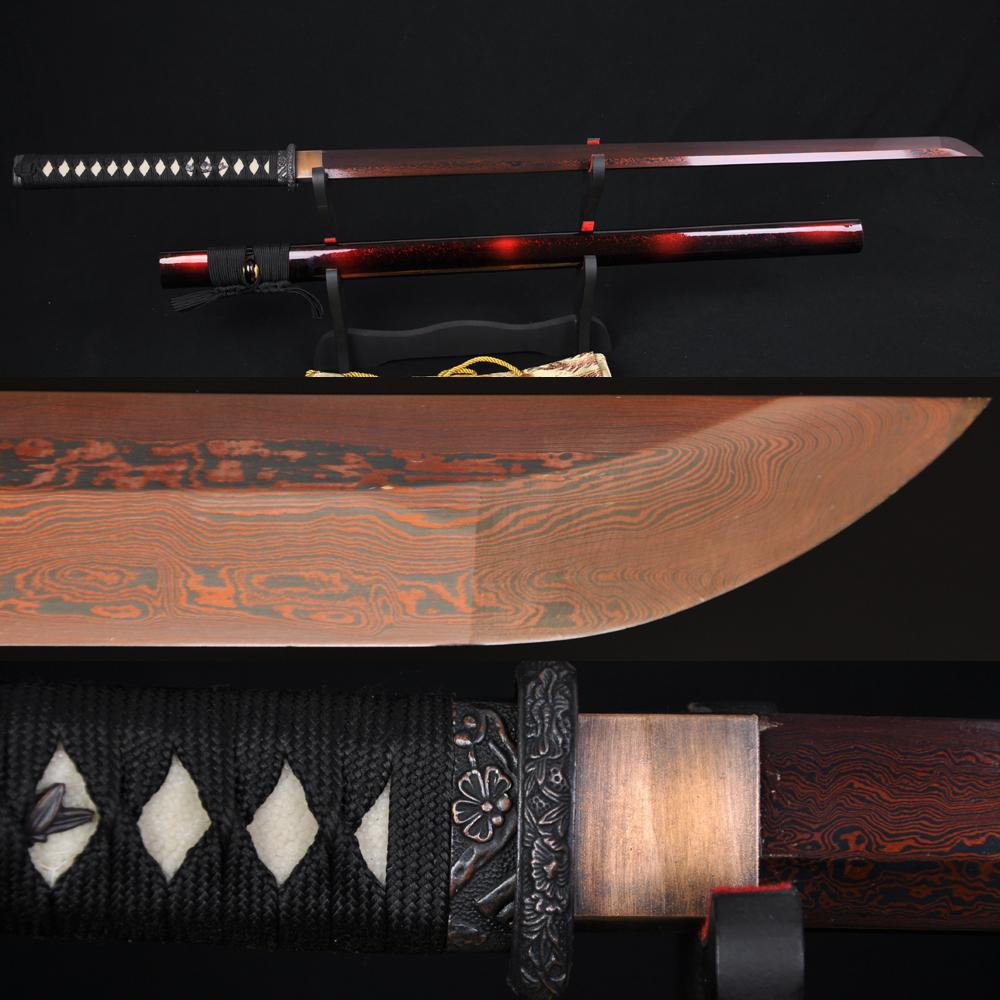 High Quality Japanese Samurai Ninja Sword Black Red Folded Steel Full Tang Blade