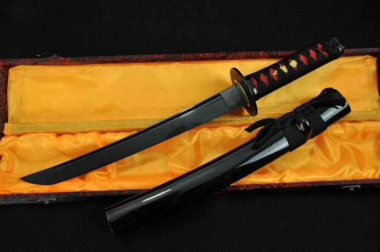 20 Inch Hand Made Japanese Sword Tanto Black Blade Iron Tsuba Sharp Edge