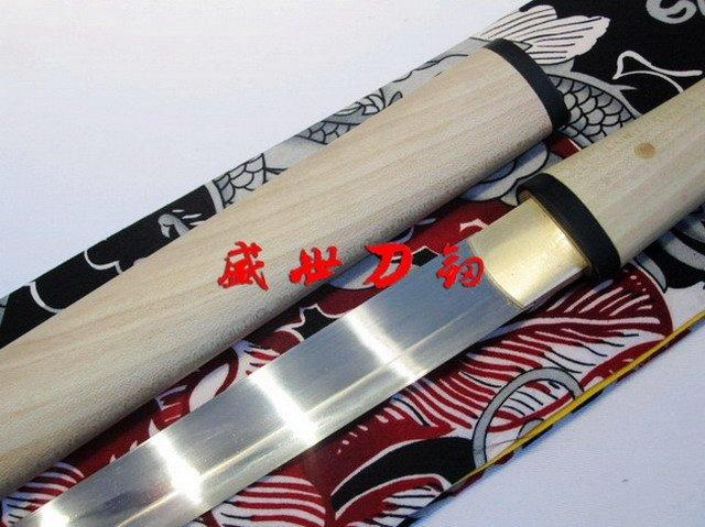 Clay Tempered T-10 Steel Blade Japanese Tanto Sword Suguha Hamon Rikko Shape Handle