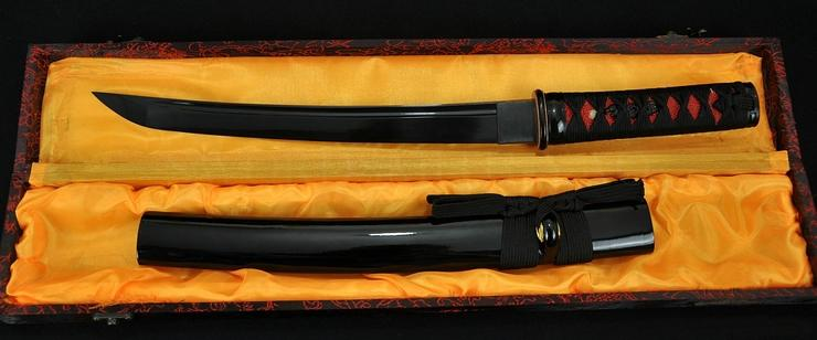 Full Black Blade Hand Made Japanese Samurai Sword Tanto Sharp Edge