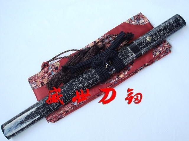 Clay Tempered Tanto Sword Fully Shark Skin Wapped Sanmai Blade