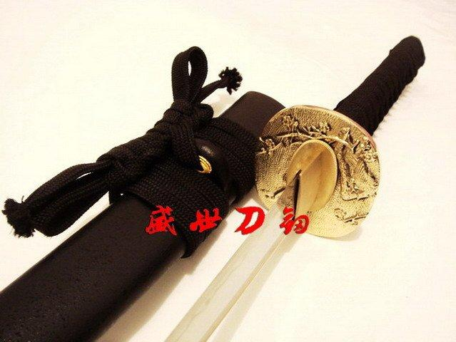 Battle Ready Clay Tempered T-10 Steel Japanese Wakizashi Sword Brass Sparrow Tsuba Sharpened Edge