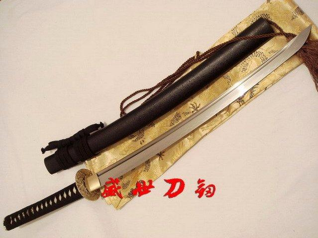Battle Ready Clay Tempered T-10 Steel Japanese Wakizashi Sword Brass Wave Tsuba Sharpened Edge