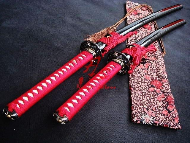 Clay Tempered Katana/Wakizashi Sword Sanmai Blade Monkey Tsuba
