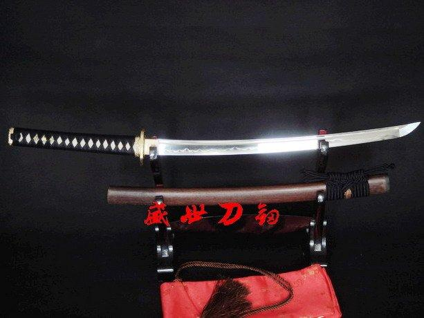 "32.3""Clay Tempered T-10 Steel Japanese Wakizashi Sword Brass Crane Tsuba Sharpened Edge"